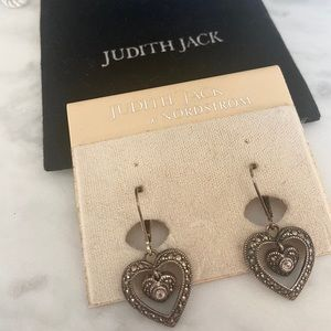 Judith Jack heart design earrings with felt pouch